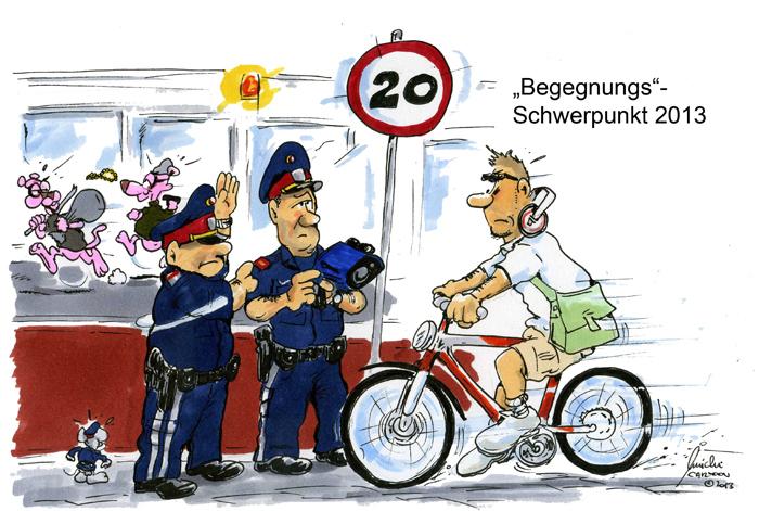 Cartoon des Monats September 2013 – Polizeischwerpunktaktion auf der Mariahilferstrasse