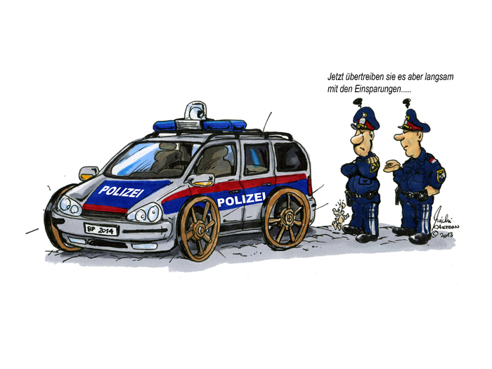 Cartoon des Monats Oktober 2013 -Gibt es weitere Einsparungen bei der Polizei?